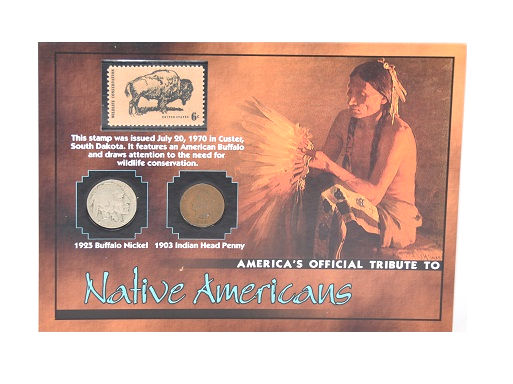 The Morgan Mint Tribute To Native Americans 1925 Nickel 1903 Penny & 1970 Stamp -