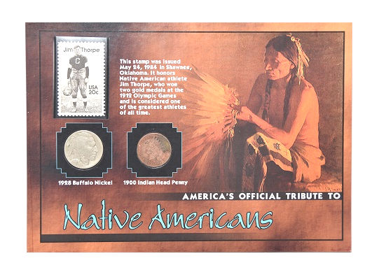 The Morgan Mint Tribute Native Americans 1928 Nickel 1900 Penny & 1984 Stamp -