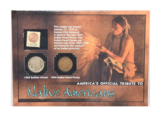 The Morgan Mint Tribute Native Americans 1924 Nickel 1904 Penny & 1978 Stamp -