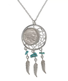 American Coin Treasures Buffalo Nickel Dream Catcher Pendant From 1920 To 1937 -