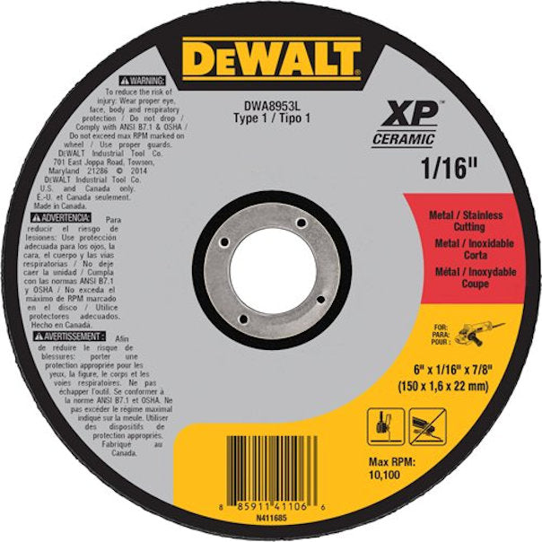 "DEWALT  6"" x 1/16"" x 7/8"" XP Ceramic Type 1 Metal / Stainless Cutting Wheel - New"