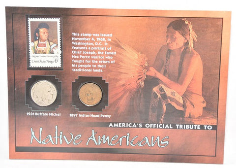 Native Americans 1931 Buffalo Nickel, 1987 Indian Head Penny & 1968 Stamp -