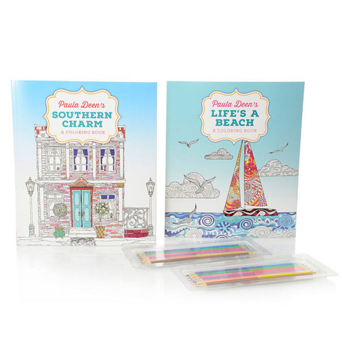 "Paula Deen ""Life's a Beach"" & ""Southern Charm"" Coloring Books w/ Colored Pencils - Brand New"