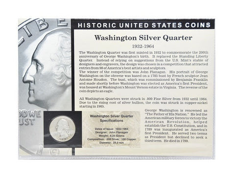 The Morgan Mint Historical United States Coins Silver Dime & Silver Quarter Set - New