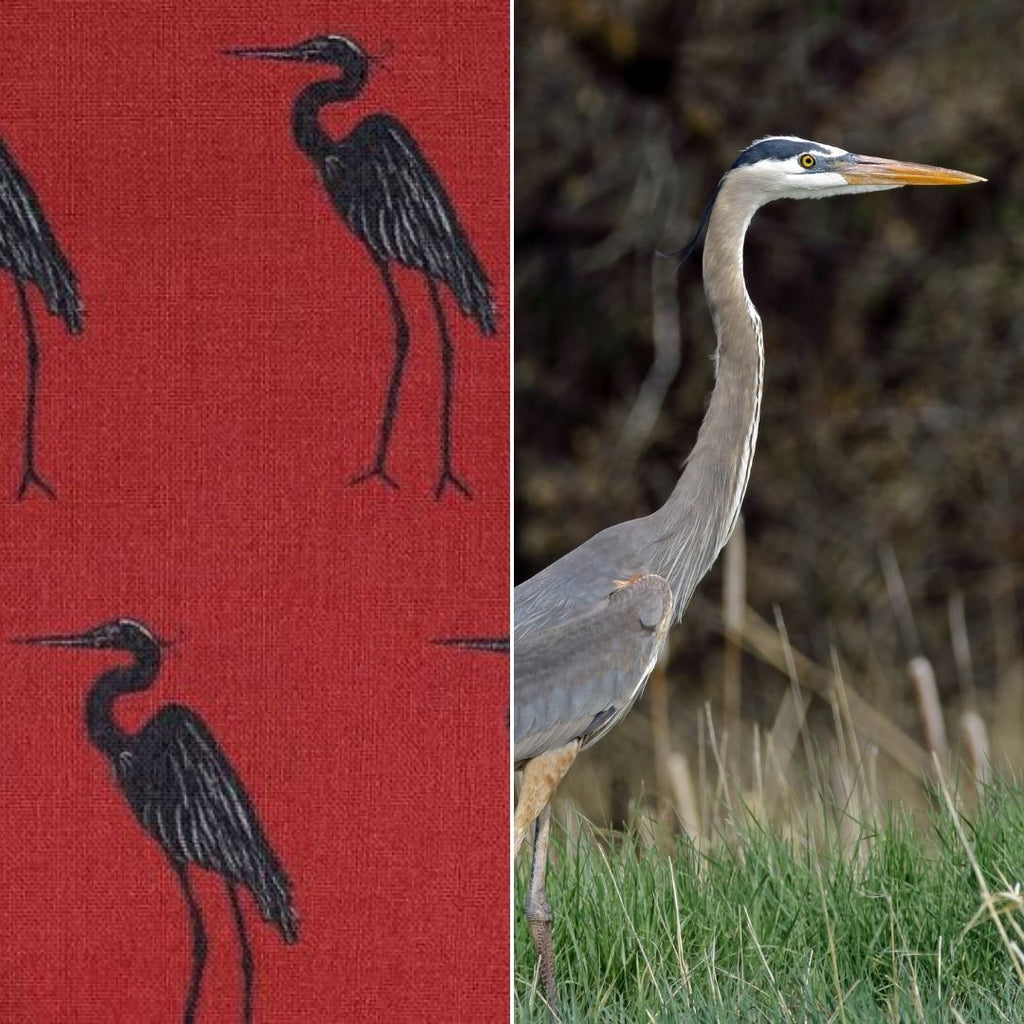 great blue heron fabric