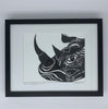 Framed Rhino Umbrella Species Original Pen & Ink