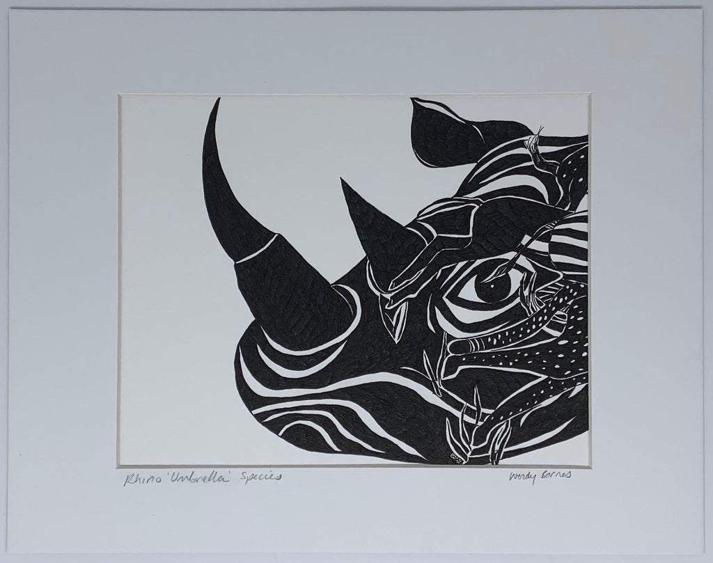 Rhino Umbrella Species giclee matted