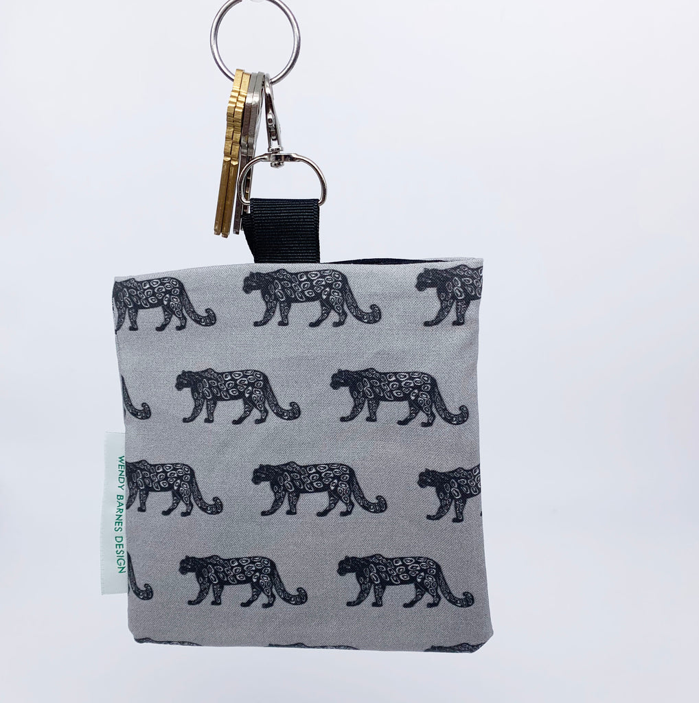 Snow Leopard Keychain Bag