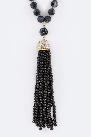 Semi Precious Bead Tassel Necklace