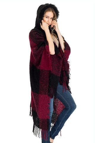Fluffy Plaid Fringe Trimmed Hooded Cape with closure
