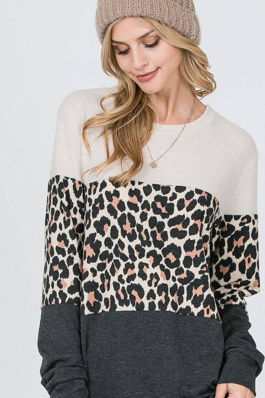 Color Block Animal Print Top (cream & black)