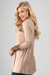 Long Sleeve Baby Doll Top with Sequins detail