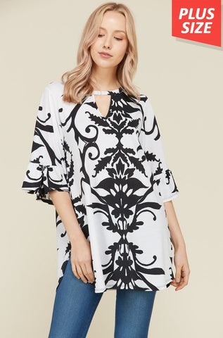 Ruffled Sleeve Key Hole Print Top (Plus)