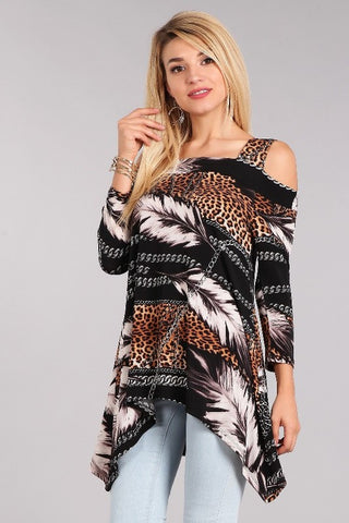 Mixed Animal Print Top