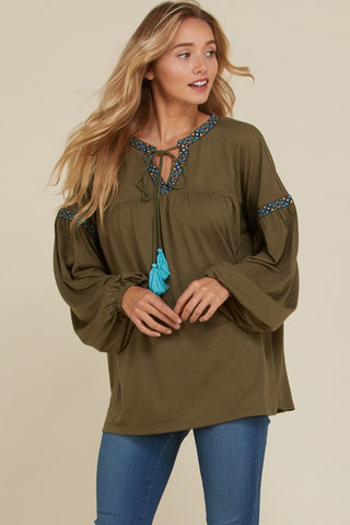 Boho Bubble Sleeve top with jacquard trim & tassels