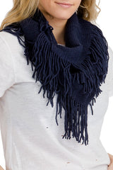 Navy Blue ribbed knit super soft fringed infinity scarf