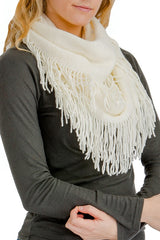 Cream ribbed knit super soft fringed infinity scarf