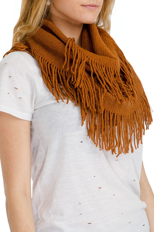 Camel ribbed knit infinity scarf