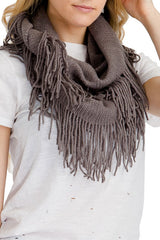 Charcoal ribbed knit super soft fringed infinity scarf