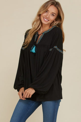 Boho Bubble Sleeve top with jacquard trim & tassels (in black or olive)