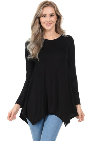Handkerchief Tunic Top Available in Black or Burgundy
