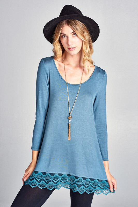 Round Neck Tunic Top with Lace Trim Detail and 3/4 Sleeves (antique blue or  ivory)