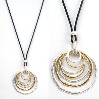 Silver & Gold Circle Necklace on Black Leather Chain