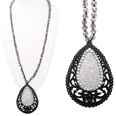 tear drop black & silver crystal inset on a beaded chain necklace