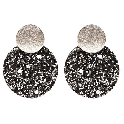 Black Silver &  Fabric Glitter Earrings