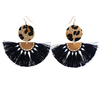 Navy & Leopard Tassel Earrings