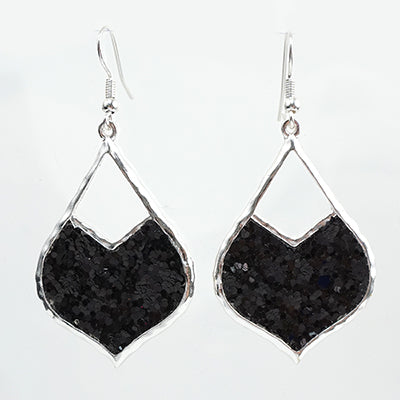 Black & Silver Glitter Earrings