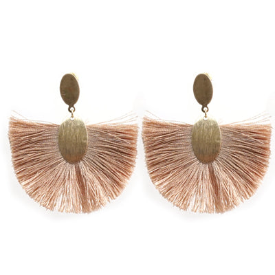 Light Brown Tassel Stud Earrings