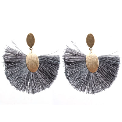 grey and mat gold stud tassel earrings