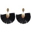Black Tassel Stud Earrings