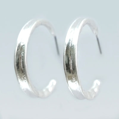 Washed Silver Hoop Earrings
