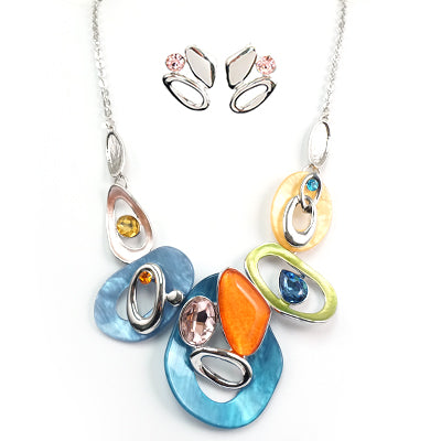 Blue Multi Color Necklace & Earring Set