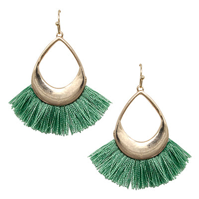 Gold Tassel Earrings ( Fuchsia, Green or White)