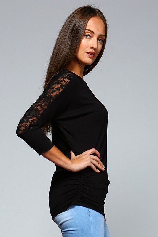 Matching Lace Detail Tunic ( in Black or Rose)