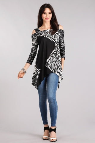 Tribal Print Cold Shoulder Top