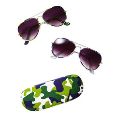 Look Here Denim Camoflauge Wrapped Aviator Sunglasses