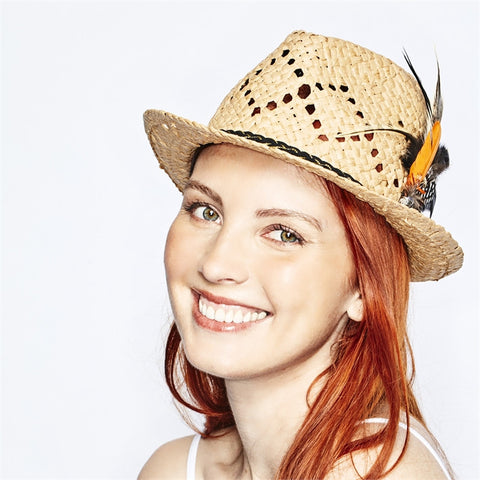 Womens' Mad Hatter Straw Fedora Hat with Feather Detail