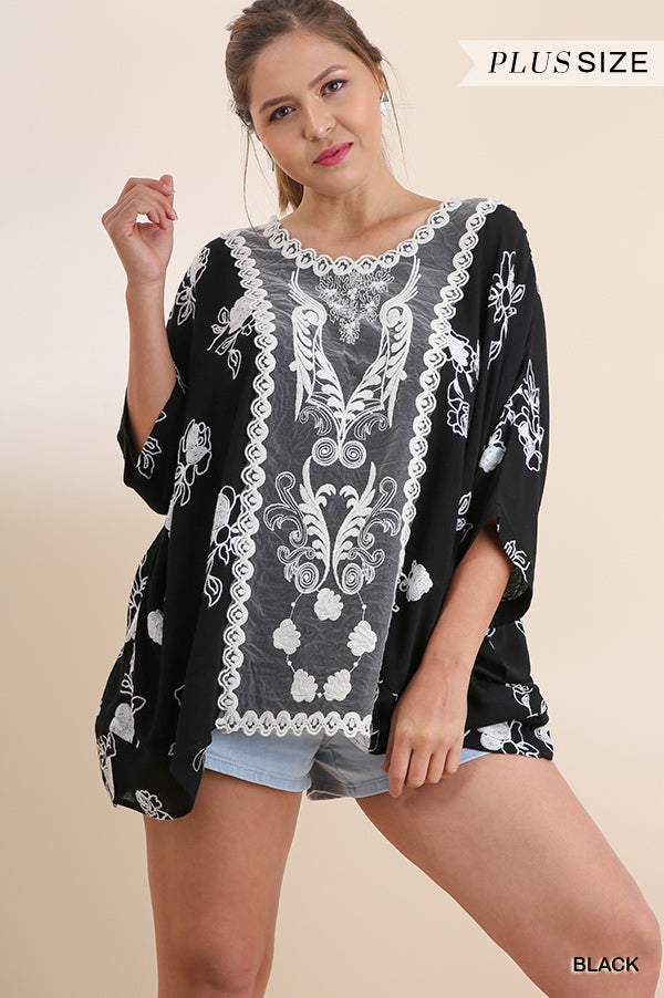 Plus Floral Embroidered Top With Front Lace Detail