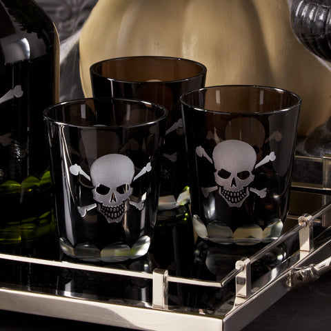 Skeleton Skull and Crossbones Double Old Fashioned Glass (Sold Separately)