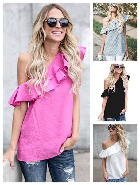 Ruffled One-Shoulder Top in Hot Pink, Black & Grey Striped