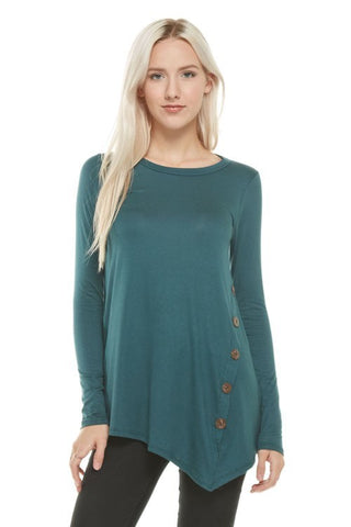Asymmetrical tunic top with decorative side buttons (available in Hunter Green, Moon Blue & Plum)