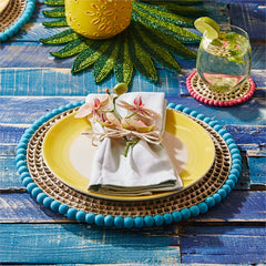 Palma Rubia Set of 4 Pandan and Bead Placemat/Chargers