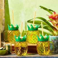 Club Tropicana Set of 4 Pineapple Drinking Glasses