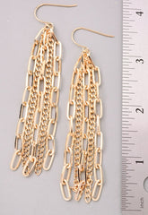 Chain Links Fringe Dangle Earrings