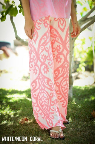 Fold Over Damask Print Palazzo Pants (white & neon coral)