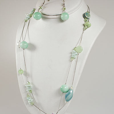 Green  Genuine Stone Necklace